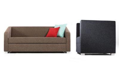 Minimalistická rozkladacia sedačka a kreslo PRIMA, v hnedej a čiernej farbe.