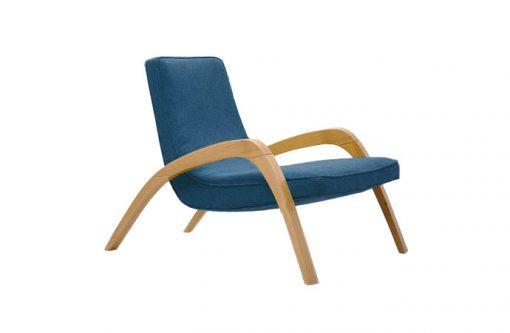 Dizajnové relaxačné kreslo JAZZ v modrom čalúnení.