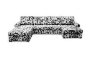 Rozkladacia sedačka TEXAS v čierno-bielej vzorovanej kvetinovej látke.