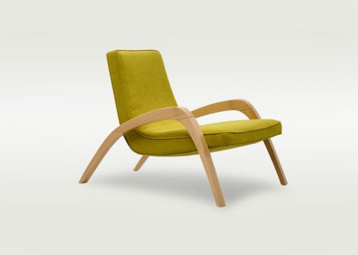 Dizajnové relaxačné kreslo JAZZ v žltom čalúnení.