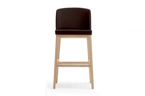 Barová stolička Barlow s koženým čalúneným sedákom a operadlom.