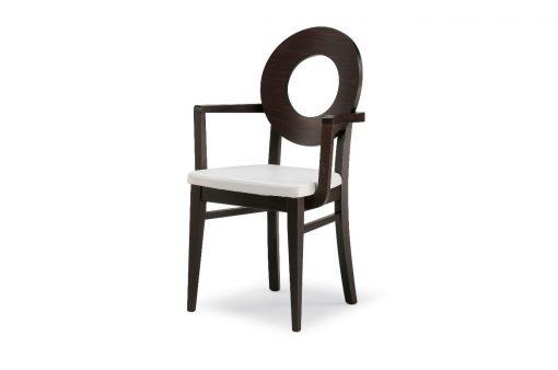 Štýlová drevená stolička BRIDGEPORT s čalúneným sedákom s opierkami na ruky.