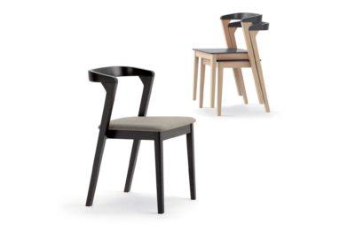 Stohovateľné moderné stoličky Denver so šedým sedákom a opierkou.
