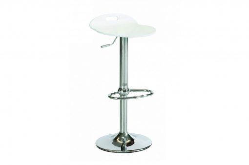 Stolička EDISON s kovovým telom a bielym dreveným sedákom.