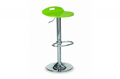 Stolička EDISON s kovovým telom a zeleným dreveným sedákom.