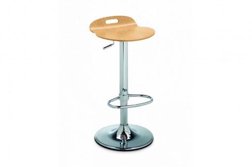 Stolička EDISON s kovovým telom a dreveným sedákom.