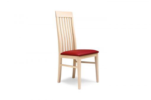Drevená stolička RENO s červeným čalúneným sedákom pohľad zboku.