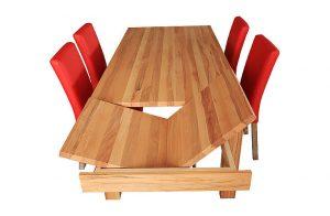 Rodinný jedálenský stôl LUX pri vysúvaní prídavných dosiek.