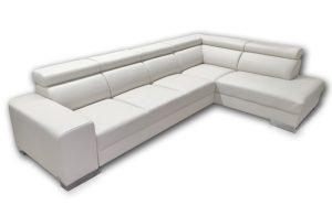 Trendová sedačka HOUSTON s nastaviteľnými opierkami hlavy, komfortnou funkciou spania, ako aj s úložným priestorom v bielej farbe.