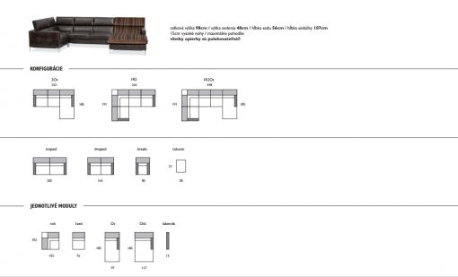 Rozmery dizajnovej sedačka LUNA