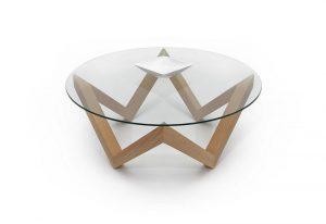 Dizajnový drevený konferenčný stolík so sklom navrchu značky Brik.