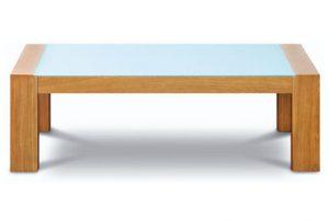 Drevený konferenčný stolík so sklom navrchu značky Brik.