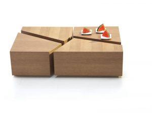 Dizajnový drevený konferenčný stolík značky Brik.