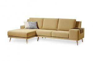 Jednoduchá moderná sedačka DETROIT v hnedej látke.