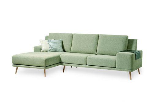 Jednoduchá moderná sedačka DETROIT v zelenej látke.