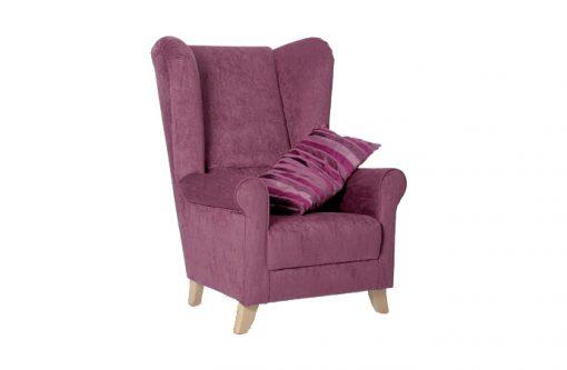 Pohodlné a štýlové kreslo UŠIAK MAX vo fialovej farbe.